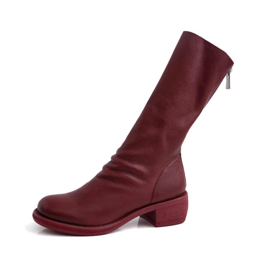 QUTAA 2020 inek deri fermuar moda tüm maç orta buzağı çizmeler yuvarlak ayak kare düşük topuk konfor rahat kadın ayakkabı boyutu 34-39