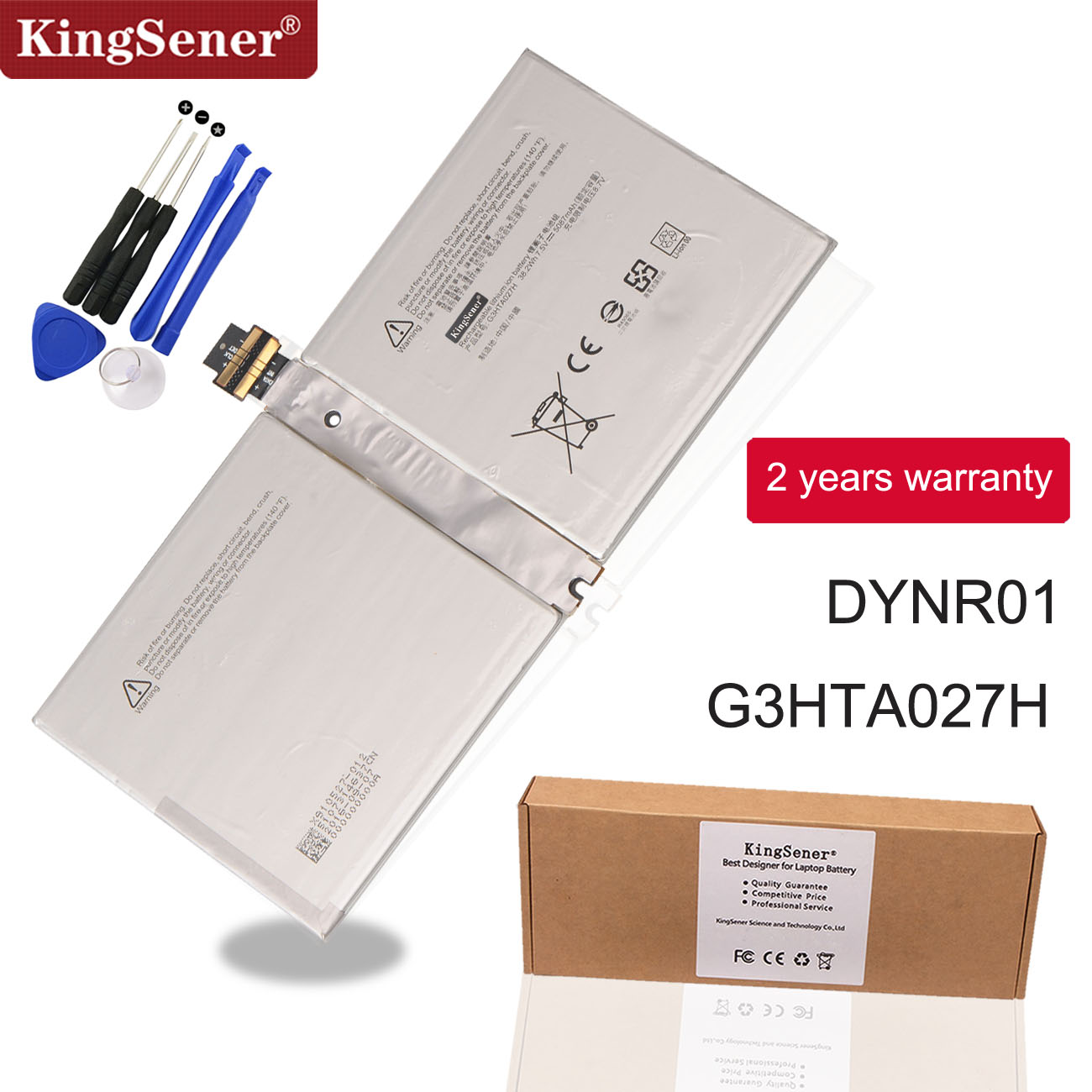 "KingSener G3HTA027H DYNR01 Laptop Battery For Microsoft Surface Pro 4 1724 12.3"" Tablet 7.5V 38.2WH/5087mAh"