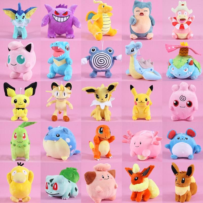takara-tomy-font-b-pokemon-b-font-pikachu-eevee-plush-toys-jigglypuff-charmander-gengar-bulbasaur-animal-plush-stuffed-toys-for-children