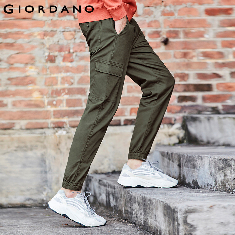 Giordano Men Pants Stretchy Cargo Full Length Pants For Men Mid Rise Taper Trousers Casual Multi Pocket Pantalones Hombre