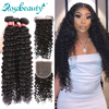 Rosabeauty 28 30 inch Deep Wave Bundles With Closure Peruvian Remy Human Hair Weaves Water Curly and 5X5 Lace Closure 1