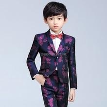 Kids Noble Jacket Vest Pants 3Pcs Party Dress Flower Boys Luxurious Wedding Suit Children Piano Stage Performance Costume 3-14Y