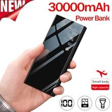 Power Bank 30000mAh Mirror External Battery LCD Digital Display LED Lighting Portable Mobile Phone Charger Ultra thin Power Bank