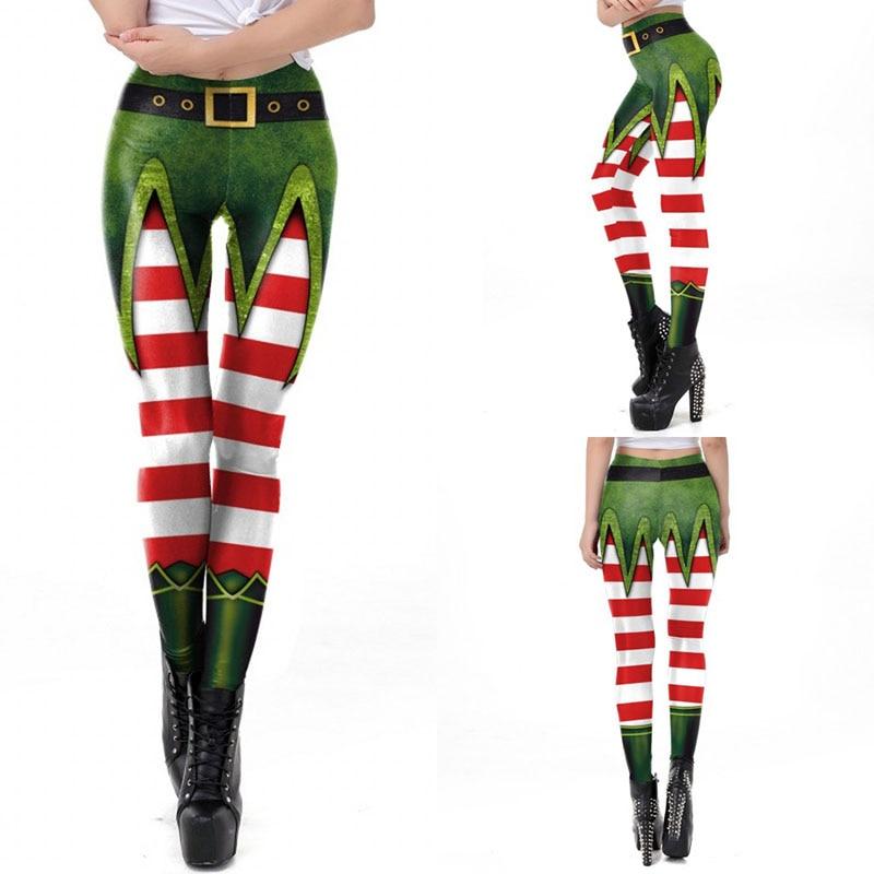 Women Pants Leggings Christmas High Waist Stretch Leggings 3D Christmas Digital Print Holiday Fitness Ankle-Length Leggings