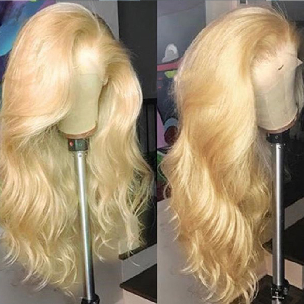 Deep Part 13X6 Lace Frontal Human Hair Wigs With Baby Hair Pre Plucked Body Wave 613 Wig Remy Peruvian Blonde Wigs For Women image