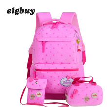 School Bags For Girls Sweet Cute Princess Children Backpack Kids Bookbag Primary 3 Set /pcs