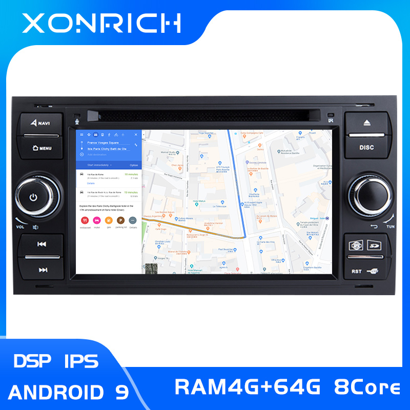 4GB IPS DSP 2 din Android 9 Car Radio Multimedia For <font><b>Ford</b></font> <font><b>Focus</b></font> 2 3 mk2 Mondeo 4 Kuga Fiesta Transit Connect S-MAXC-MAX8 Core64G image