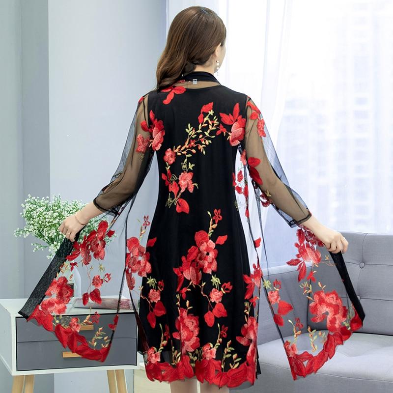 Plus Size Women Long Lace Cargidans Wedding Flower Embroidery Lace Kimonos Lady Plus Size Long Lace Tops Outwear Women Kimonos