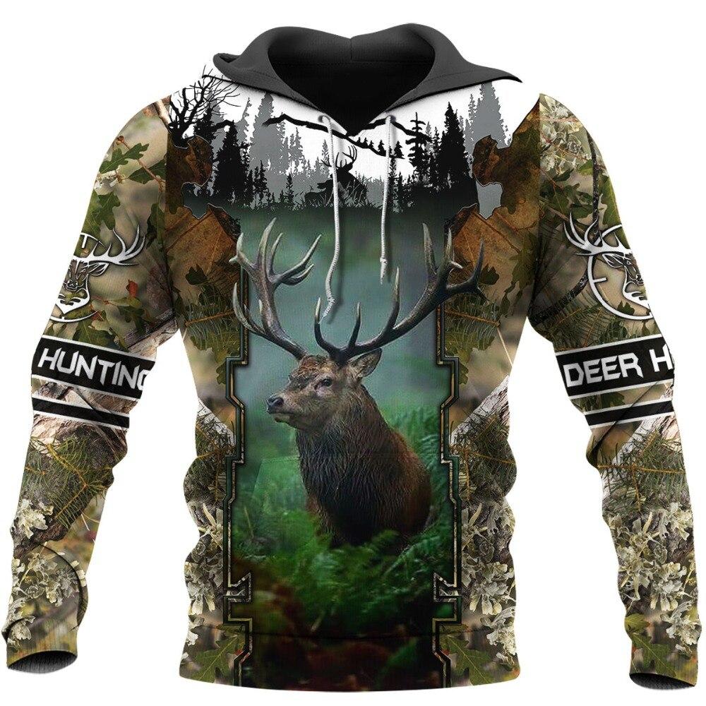 Deer Hunting 3D All Over Printed Hoodie Unisex Fashion Casual Sweatshirt Hip Hop Zip Jacket -129