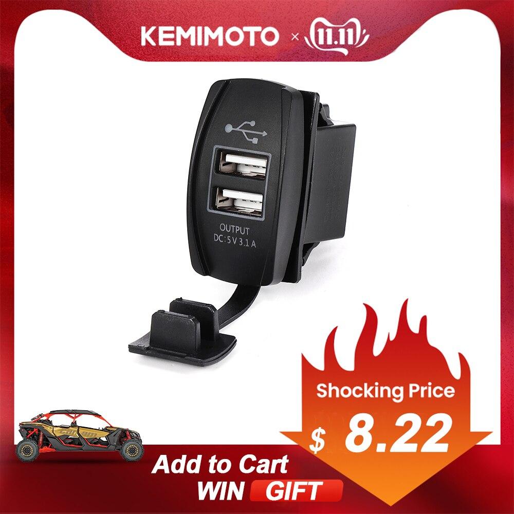 12V & 24V ATV USB Charger Backlit Rocker Switch For Can Am For John Deer For Polaris RZR 900 800 1000 Motorcycle Charging