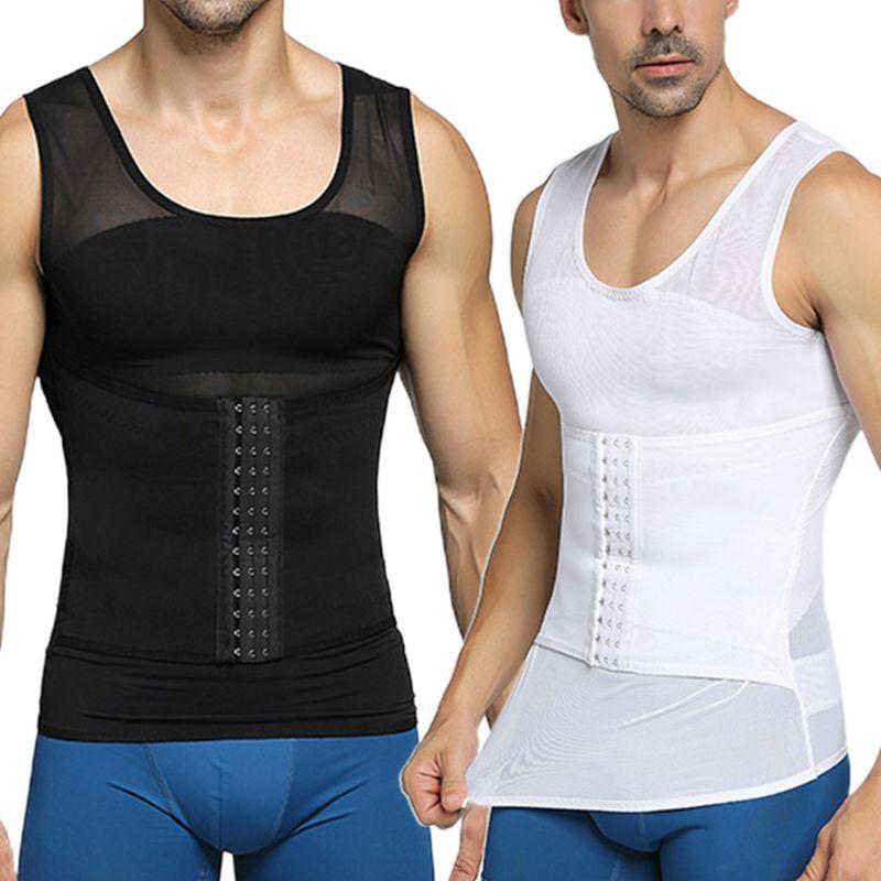 Mens Mesh Shapewear Corset Body Shaper Slim Sport Vest Waist Trainer Breathable
