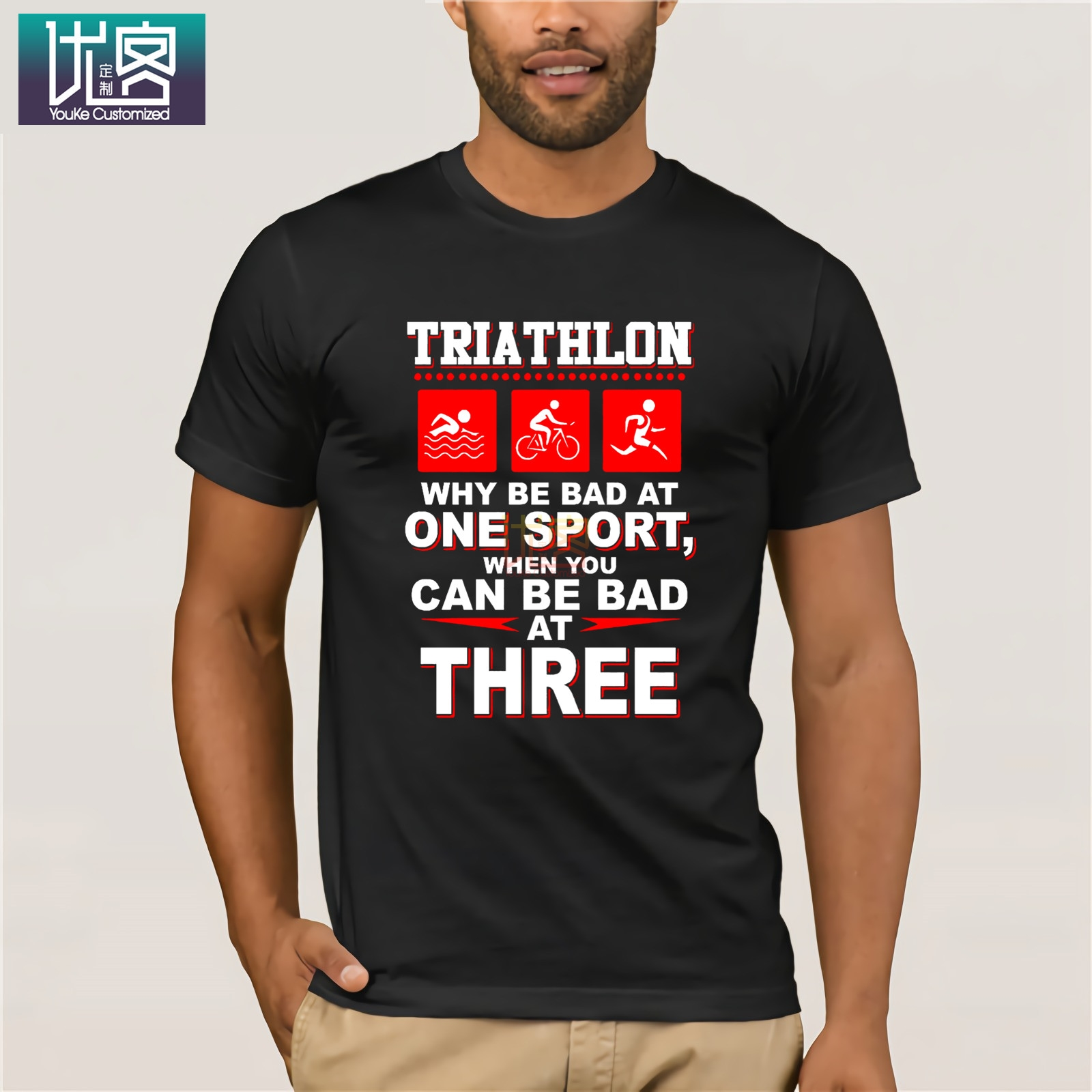 Triathlon Why Be Bad At One Sport When You Can Be Bad At Three Amazing Short Sleeve Unique Casual Short Sleeve Top For Men Tops