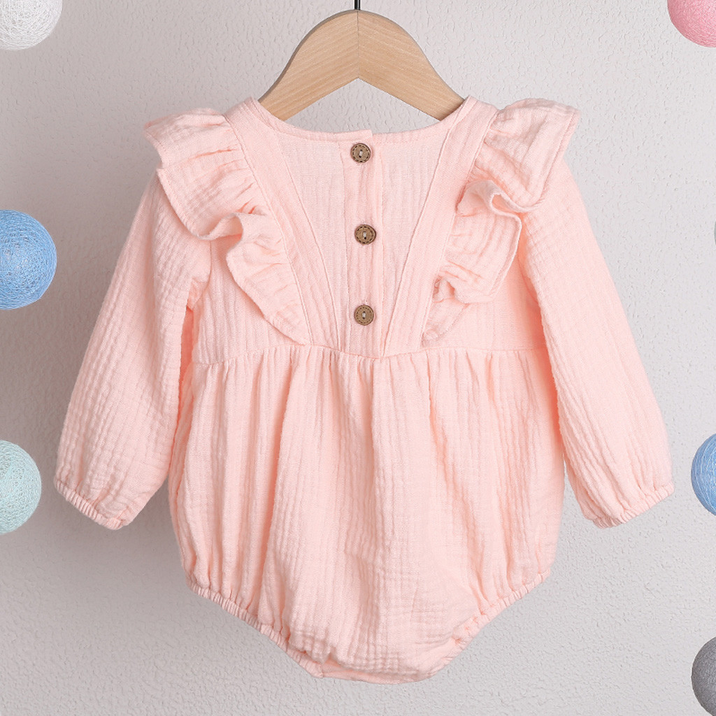 Baby Bodysuit Long Sleeve Baby Body Neonato Clothes Baby Girl Onesie Funny Bodies Bebe Algodo Solid Ruffles Long Sleeve 0-24m Z4