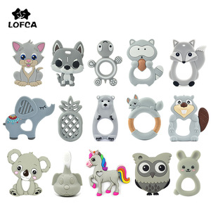 LOFCA 1PC Baby Teether Toys Pacifier Clip Chain Food Grade Silicone Beads Baby Shower Gift Cartoon Animals Necklace Accessories