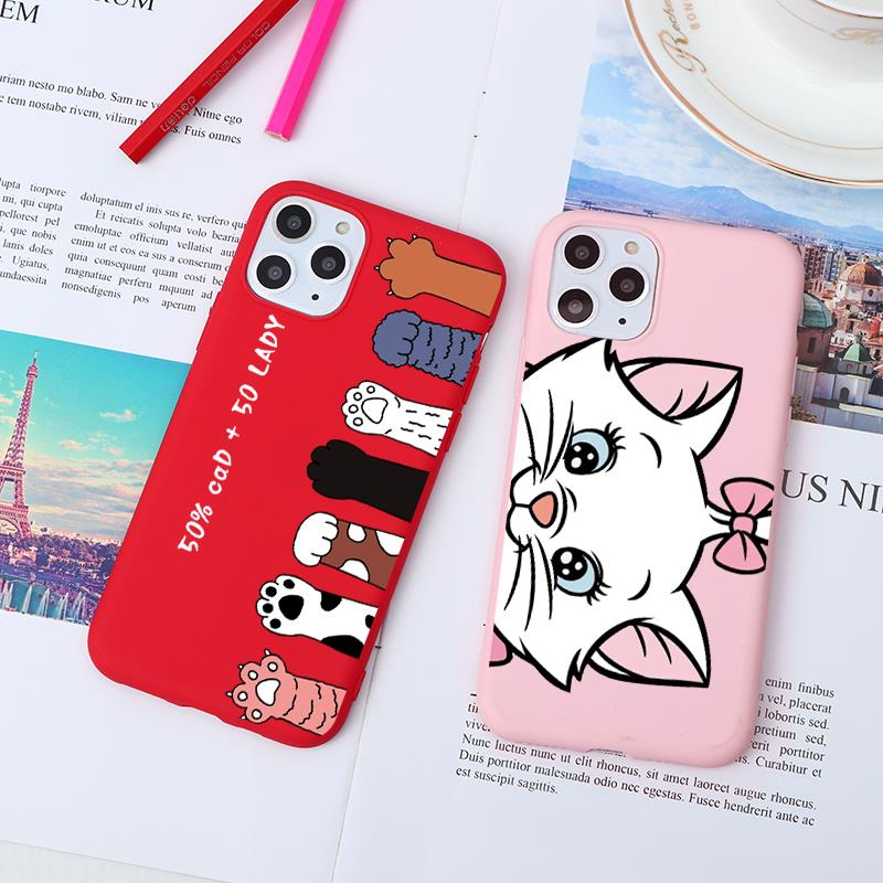 Cartoon Cat Pink Red Print Soft TPU Cases For iPhone 11 Pro 7 8 6 6S S Plus XS Max XR X 5 5S SE Case Back Cover Bags Capa Fundas image