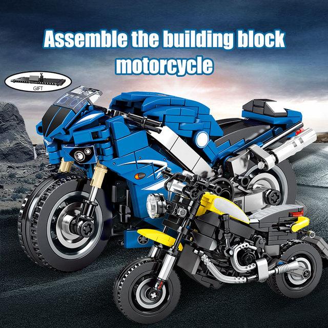 SEMBO MOC City Speed Motorbike Model Building Blocks Technic Motorcycle Creator Motor Car Bricks Educational Toy for Boys