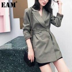 [EAM] Женская куртка с разрезом на пуговицах, новая свободная куртка с длинными рукавами и отворотом, весна-осень блейзер для досуга 1W5160, 2020