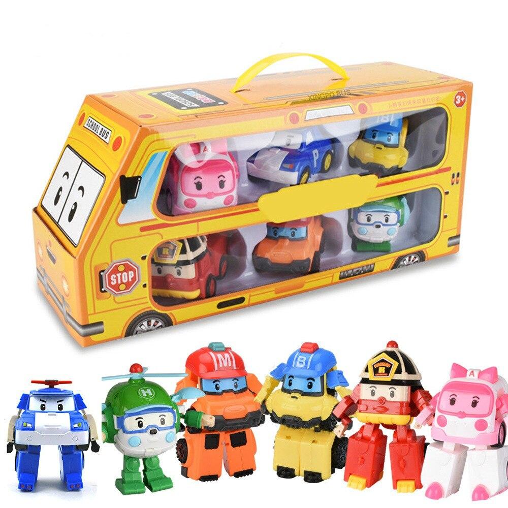 Conjunto de 6 pçs poli carro crianças robô brinquedo transformar veículo dos desenhos animados anime figura de ação brinquedos para crianças presente juguetes