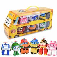 Juego de 6 uds Poli coche niños Robot juguete transformar vehículo de dibujos animados Anime figura de acción Juguetes para niños Juguetes de regalo