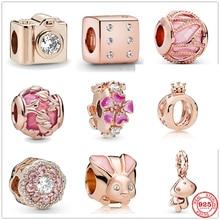 Новые розовые золотые браслеты с сверкающими кролик гриб кости серебряные бусины 925 пробы, очаровательный, подрходит к оригиналу Pandora, брасл...