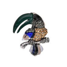 Fashion Classic Beautiful Colorful Bird Enamel Animal Crystal Big Mouth Parrot Scarf Brooches for Women Wedding Jewelry