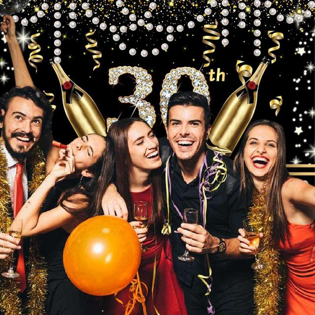 Amawill-ballons en tissu pour anniversaire | Décorations de rideau de fond pour joyeux anniversaire, 21, 30, 40, 50, 60 ans, 21th, 30e et 60e anniversaire