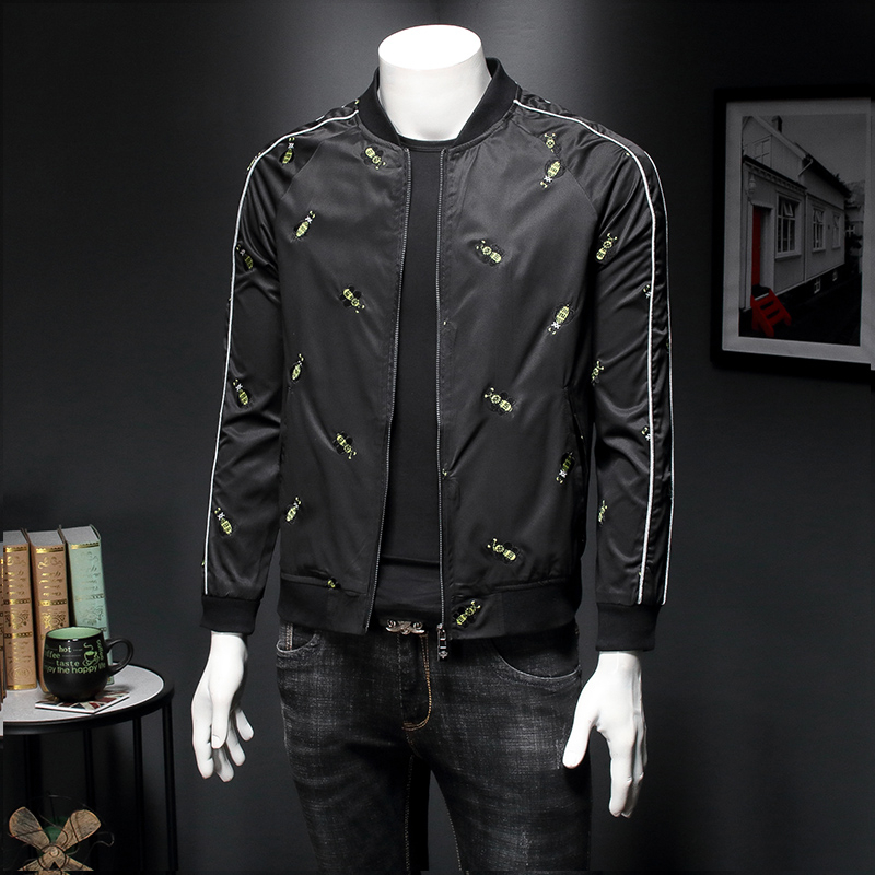 Luxury Embroidery Printing Jacket Streetwear Clothing M-4XL 2020 Summer Men's Bomber Jacket Baseball Collar Jackets And Coats