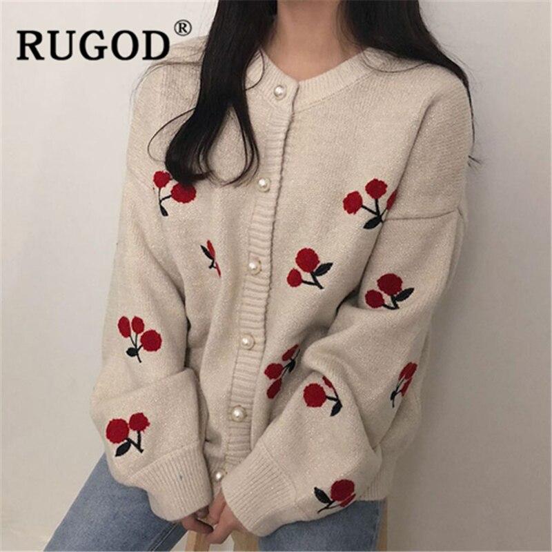 RUGOD Elegant Pearl Beading Knitted Cardigan Women Fashion Single-breasted Cherry Printed Loose Cardigan Korean Oversized Coat