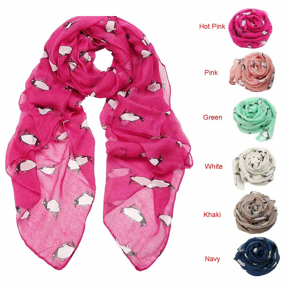 Women Lady Penguin Print Shawl Voile Rectangle Scarf Scarvesшарф женский Scarf Women Foulard Femme  Bufandas Invierno Mujer
