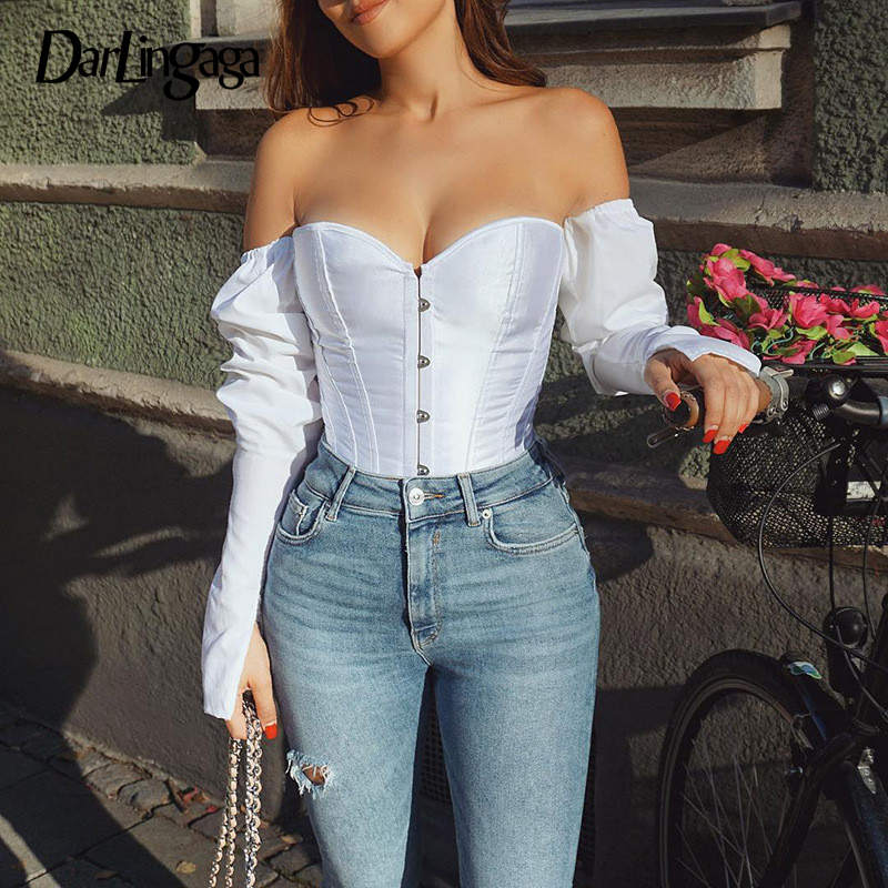 Darlingaga <font><b>Fashion</b></font> <font><b>Off</b></font> <font><b>Shoulder</b></font> White Blouse Shirt Splice Lace Up Adjustable Crop Top Bodycon Corset <font><b>Women</b></font> Shirts <font><b>Sexy</b></font> Hook Tops image
