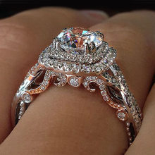 Luxury Female Bridal Engagement Ring 925 Silver Big Round Stone Ring Vintage Wedding Band Rings For Women(China)