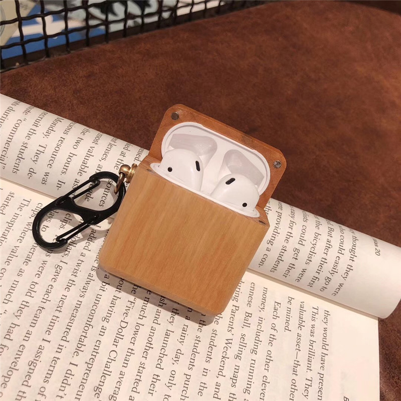 Image 5 - wood grain protective Bluetooth headset cover for airpods case natural color e co friendly earphone holder with hook  BIA010-in Earphone Accessories from Consumer Electronics