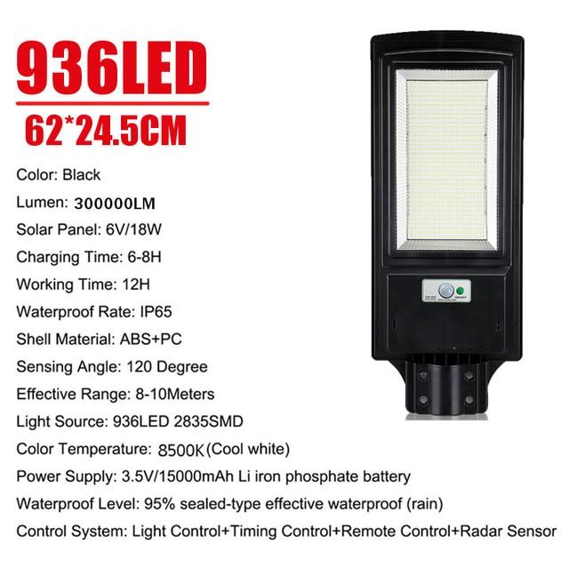 3200W LED Solar Street Light IP65 436/936LED 8500K Light Radar Motion Sensor Wall Timing Lamp Remote Control for Garden Outdoor 3