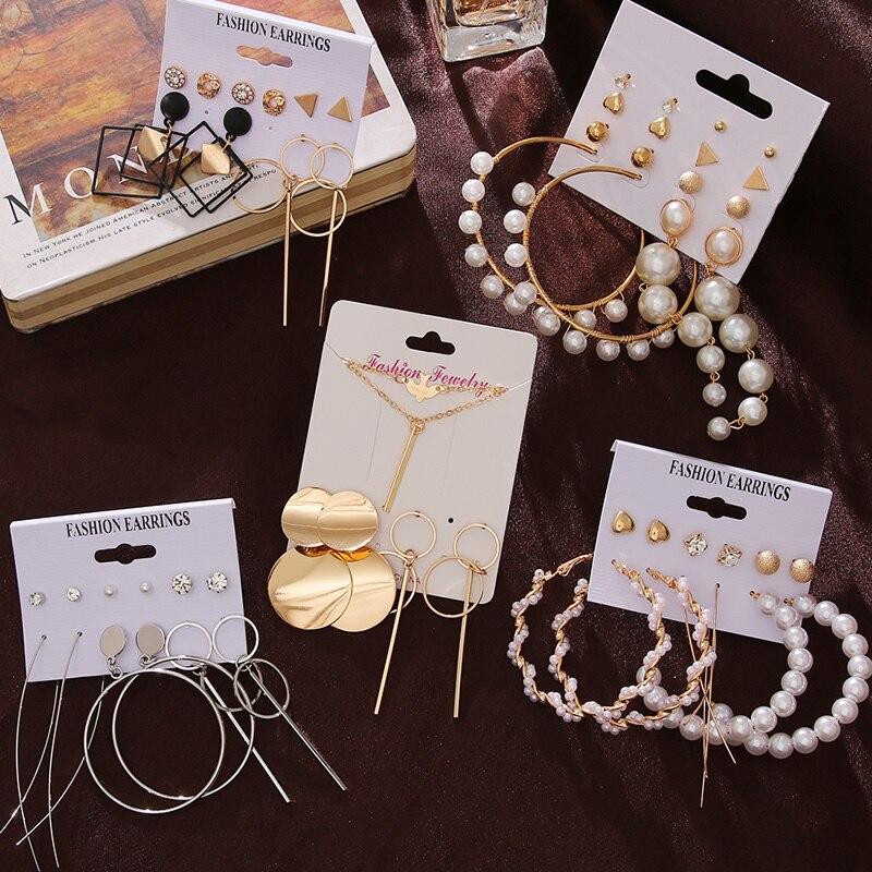 FNIO Women's Tassel Pearl Earrings For Women Bohemian Earrings Set Big Geometric Metal Gold Drop Earring 2020 Fashion Jewelry