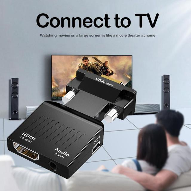 VGA to HDMI Adapter Video Audio Converter with Audio Support 1080P ABS Consumer Electronics Accessories 62x34x15.5mm 2