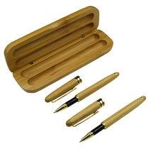Один комплект природа бамбука гелевые ручки с Чехол черные голубые