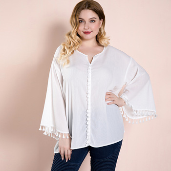 2020 Newest Women's Blouses Female Long Sleeve Plus Size Oversized Shirt Summer Top Fat Clothes Chiffon White 25 Years Office plus size chiffon long sleeve layering top