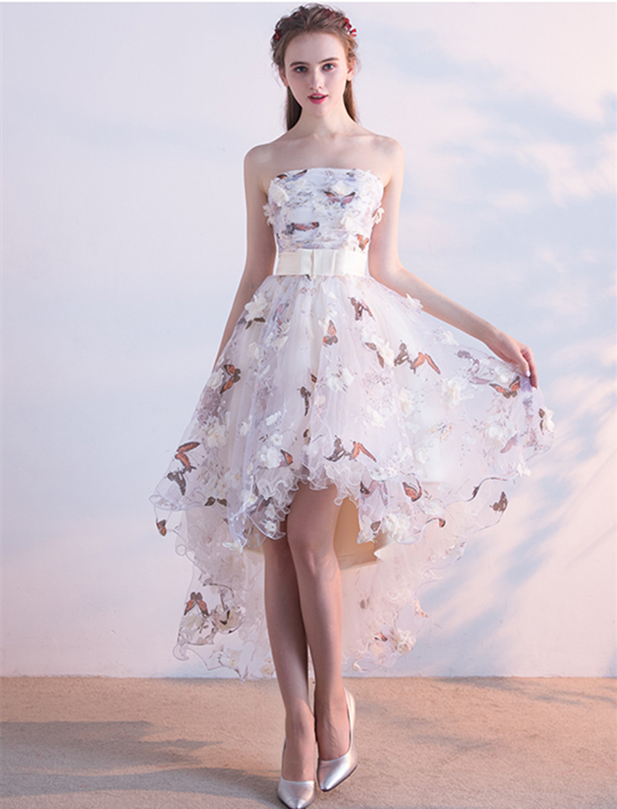 High Low Prom Evening Dresses Butterfly Print 3D Cream Floral Flower Homecoming Dress Graduation Party Gown With Belt Strapless