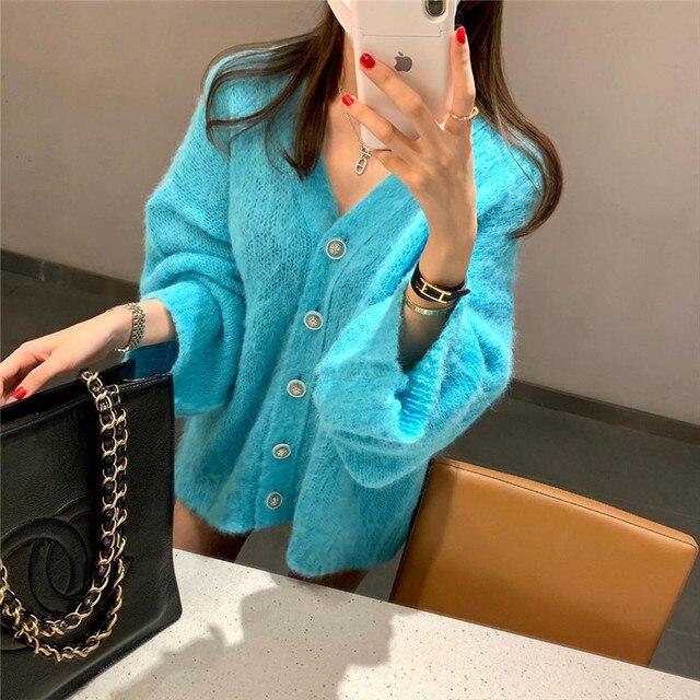 Женское однотонное платье свитер в Корейском стиле элегантное
