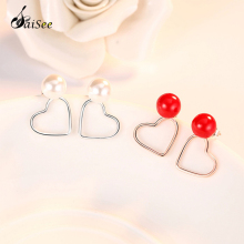 SaiSee Pearl Earrings 925 Sterling Silver Red White Heart Push-back Stud For Women Fashion Jewelry E-260