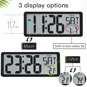 "Image 2 - TXL Square Wall Clock Series, 13.8"" Large Digital Jumbo Alarm Clock, LCD Display, multi functional huge office decor desk"