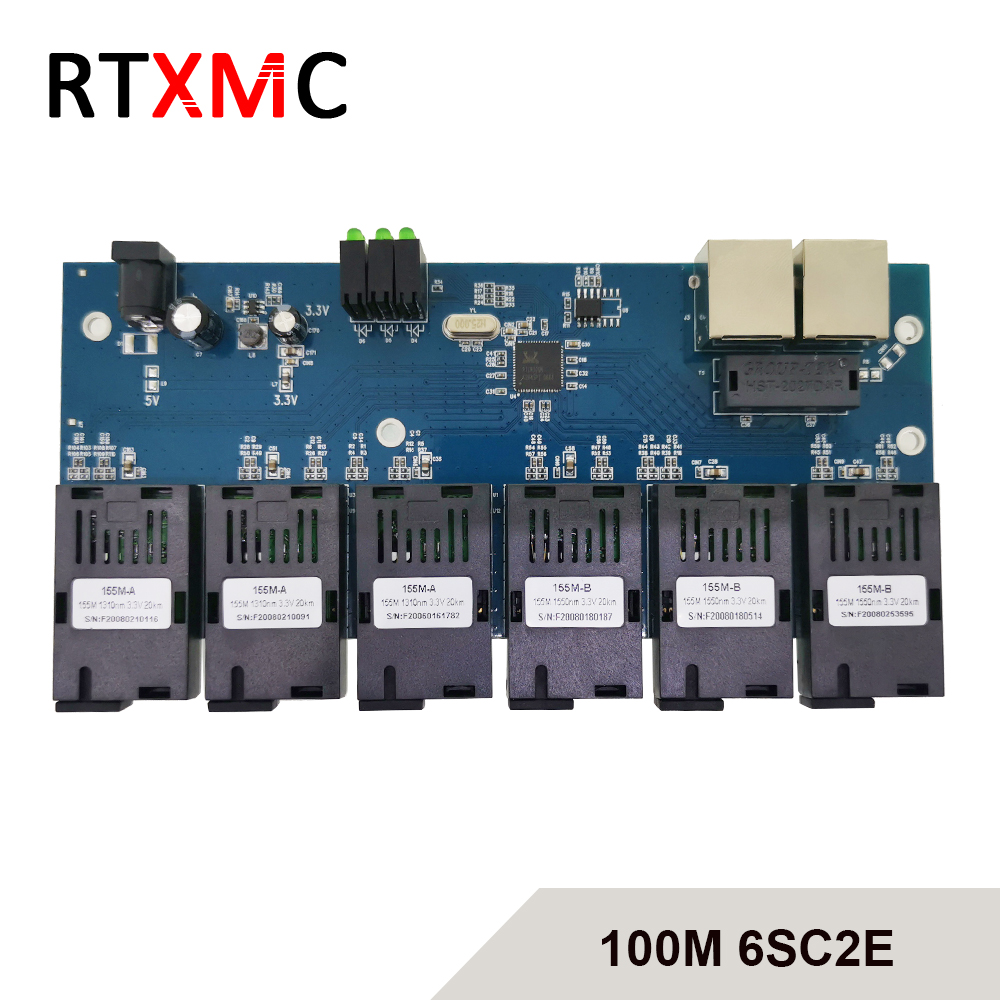 Fast Ethernet 4F4E 10/100M Ethernet-коммутатор 4 волокна Порты и разъёмы SC 25 км 4 UTP RJ45 быстро Erhetnet волоконно-оптический переключатель с источника питания
