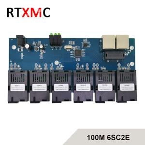 6SC2E Fast Ethernet 10/100M Ethernet Switch 6 Fiber Port SC 20KM 2 UTP RJ45 Fast Erhetnet Fiber Optical Switch with power supply