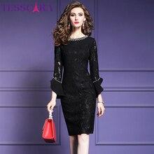 TESSCARA kadınlar zarif boncuk dantel elbise dresses kadın yüksek kaliteli eski tasarımcı Robe Femme ofis parti kalem Vestidos