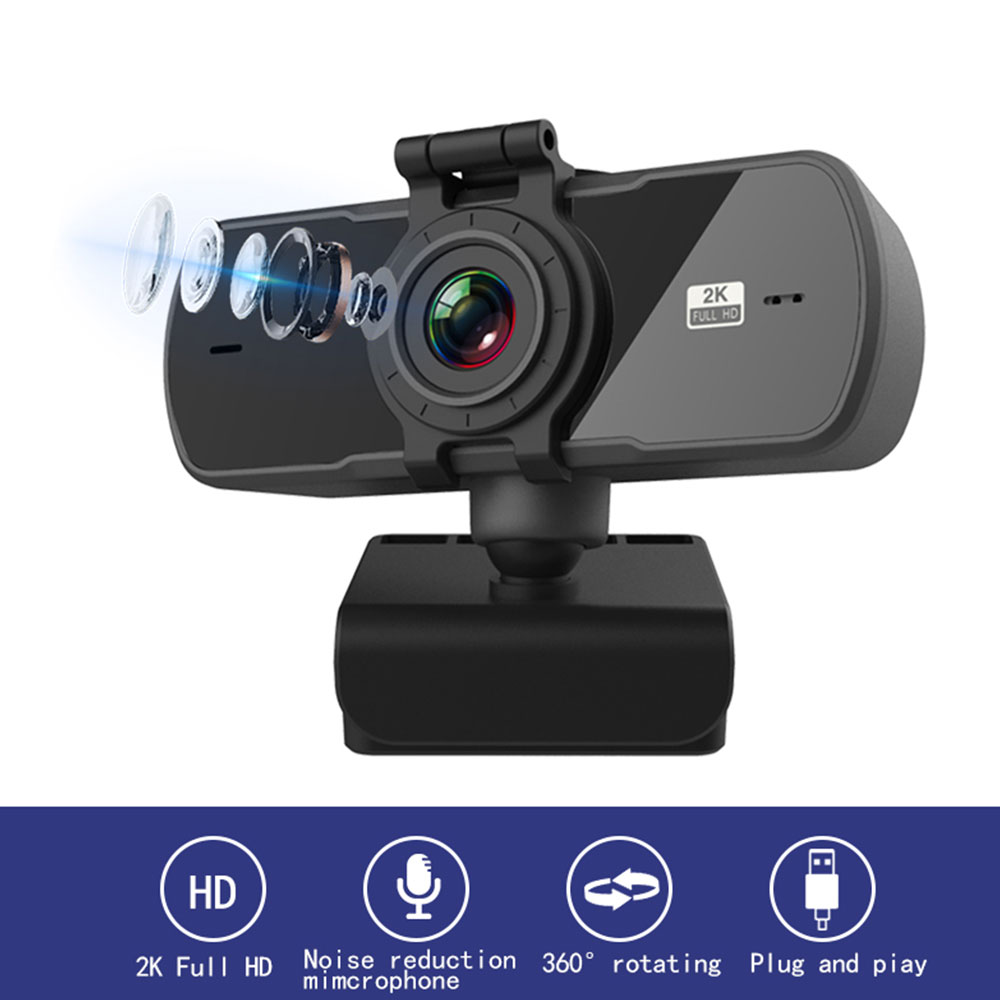 Tishric PC-C5 4MP 2K Webcam 1080P HD Web Camera with microphone 360° Rotary Joint USB Webcam for Computer/Laptop Camera Web Cam 1