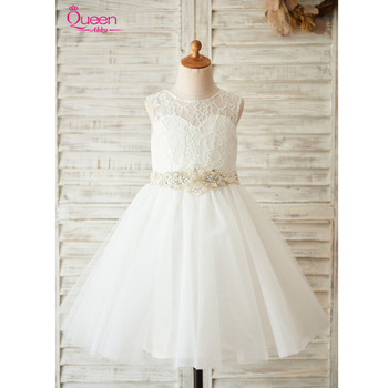 Ball Gown Communion Dress 2019 Lace Tulle Princess Dress with Beading Sashes Strapless Dress for Wedding Party