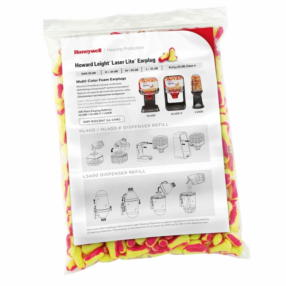 200 Pairs Honeywell Earplug 1013047 Howard Leight Laser Lite Multi-Colour Foam Earplugs Refill Bag For Dispenser