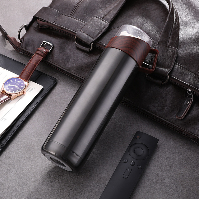 New 350ml/500ml Vacuum Flasks Protable Vacuum Water Bottle 304stainless steel Thermos Cup Wood Grain Jazz Drinking Cap 2