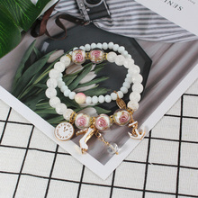 Bohemia natural stone beading bracelet crystal forest small leaves pearl girl seaside holiday Bracelet