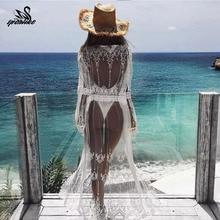 Элегантное сексуальное летнее пляжное платье с глубоким v-образным вырезом, Белая Кружевная туника, Женская пляжная одежда, купальник, накидка